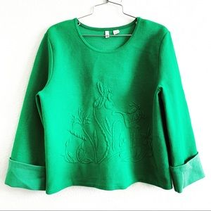 MOTH anthropologie green sweater embroidery top L